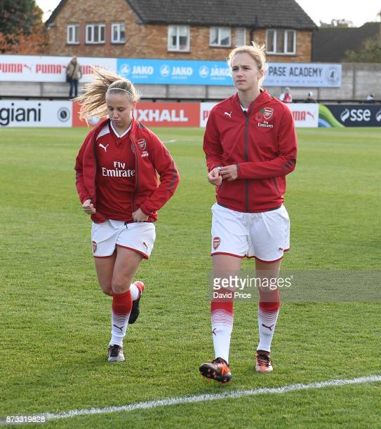 Vivianne Miedema and Beth Mead of Arsenal before the WSL match between Arsenal Women and Sunderland on November 12 2017 in Borehamwood United Kingdom