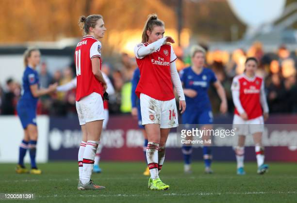 Vivianne Miedema and Jill Roord of Arsenal after the Barclays FA Women's Super League match between Arsenal and Chelsea at Meadow Park on January 19...