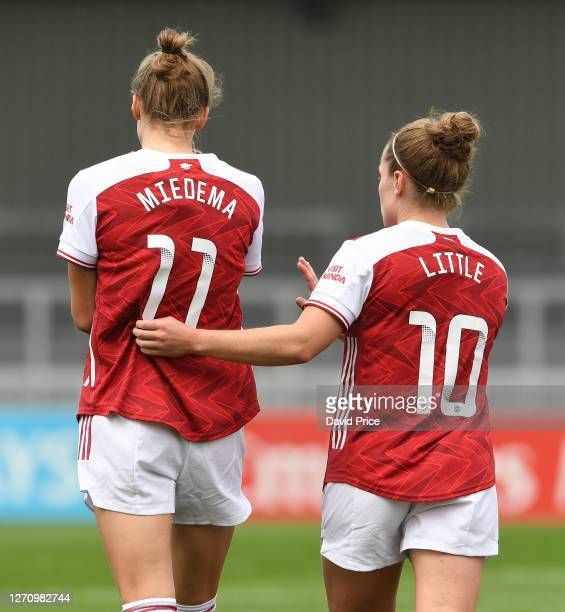 Vivianne Miedema and Kim Little of Arsenal during the match between Arsenal Women and Reading Women at Meadow Park on September 06 2020 in...