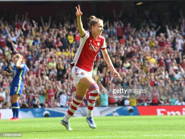 Vivianne Miedema celebrates scoring a goal for Arsenal during the Barclays FA Women's Super League match between Arsenal Women and Chelsea Women at...