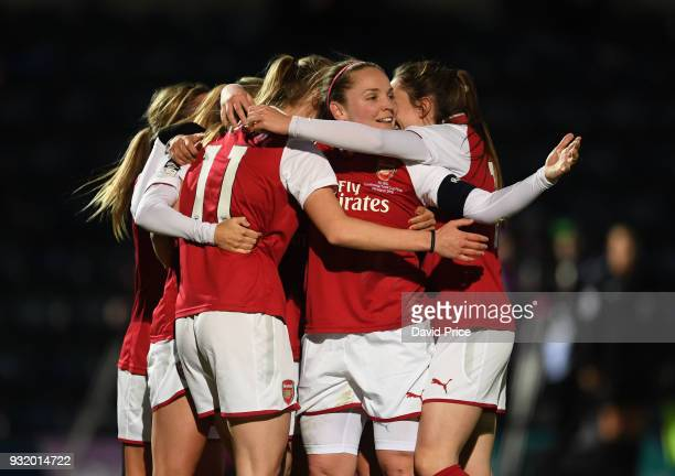 Vivianne Miedema celebrates scoring a goal for Arsenal with Kim Little during the match between Arsenal Women and Manchester City Ladies at Adams...