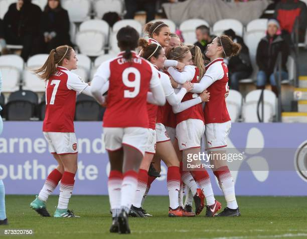Vivianne Miedema celebrates scoring Arsenal's 2nd goal with her team mates during the WSL match between Arsenal Women and Sunderland on November 12...
