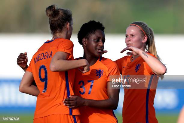 Vivianne Miedema Liza Van Der Most and Kika Van Es of Netherlands during the Algarve Cup Tournament Match between Sweden W and Netherlands W on March...