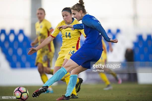 Vivianne Miedema Melinda Nagy during the preseason friendly match between national women's The Netherlands vs Romania in Pinatar Arena San Pedro del...