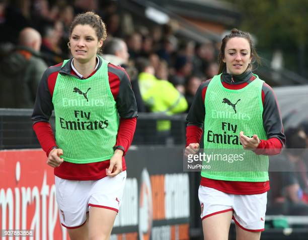 LR Vivianne Miedema of Arsenal and Lisa Evans of Arsenal during SSE Women's FA Cup quarter_final match between Arsenal against Charlton Athletic...