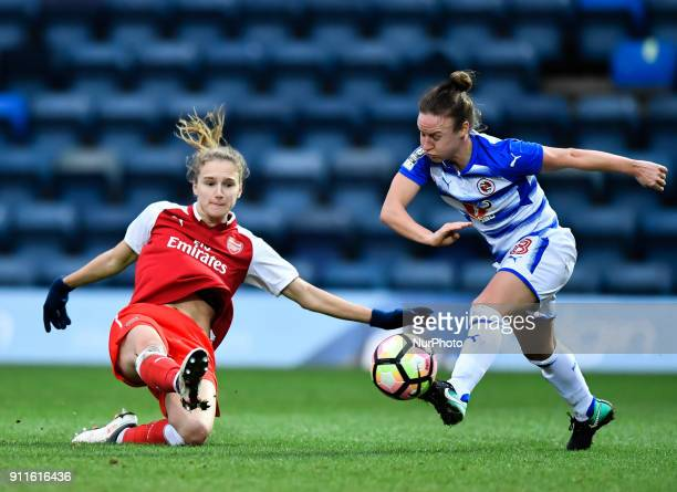 Vivianne Miedema of Arsenal battles for possession with Remi Allen of Reading FC Women during Women's Super League 1 match between Reading FC Women...