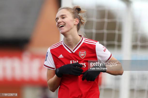 Vivianne Miedema of Arsenal celebrates after scoring her sides fifth goal during the Barclays FA Women's Super League match between Arsenal and...