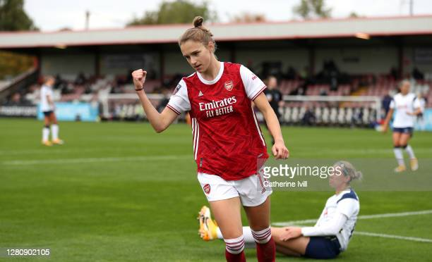 Vivianne Miedema of Arsenal celebrates after scoring her team's fourth goal during the Barclays FA Women's Super League match between Arsenal Women...