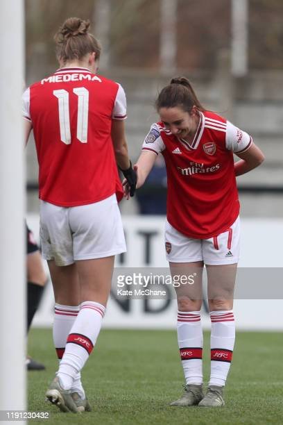 Vivianne Miedema of Arsenal celebrates with Lisa Evans of Arsenal after scoring her sides eighth goal during the Barclays FA Women's Super League...