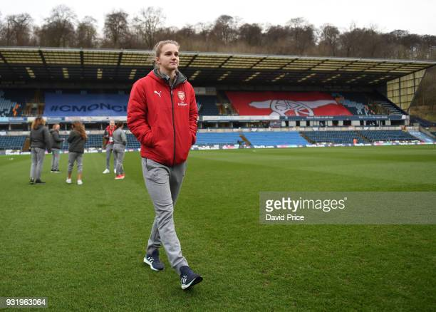 Vivianne Miedema of Arsenal checks out the pitch before the match between Arsenal Women and Manchester City Ladies at Adams Park on March 14 2018 in...