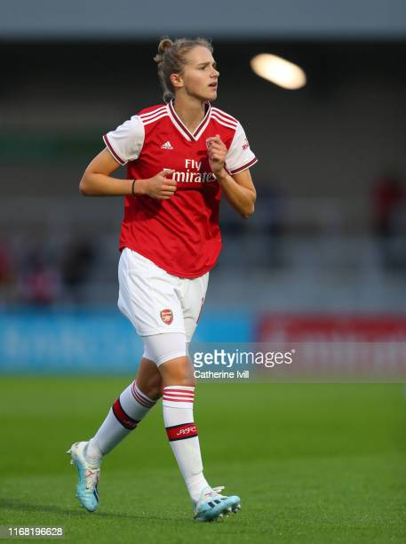 Vivianne Miedema of Arsenal during the Pre Season friendly between Arsenal Women and Barcelona Women at Meadow Park on August 14 2019 in Borehamwood...