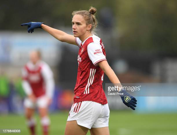 Vivianne Miedema of Arsenal during the Women's FA Cup match between Arsenal Women and Tottenham Hotspur Women at Meadow Park on September 26 2020 in...