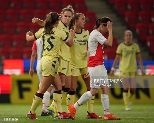 Vivianne Miedema of Arsenal FC celebrates after scoring their team's second goal during the UEFA Women's Champions League match between SK Slavia...