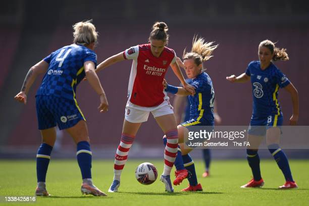 Vivianne Miedema of Arsenal FC is challenged by Erin Cuthbert of Chelsea during the Barclays FA Women's Super League match between Arsenal Women and...