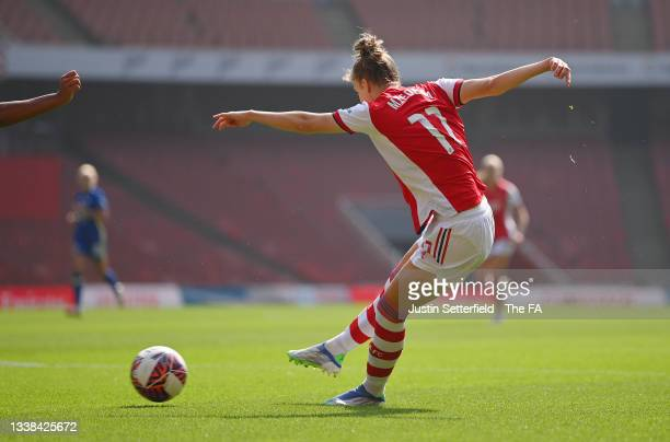 Vivianne Miedema of Arsenal FC scores their team's first goal during the Barclays FA Women's Super League match between Arsenal Women and Chelsea...