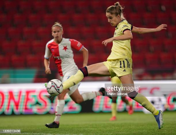 Vivianne Miedema of Arsenal FC scores their team's first goal during the UEFA Women's Champions League match between SK Slavia Prague Women and...