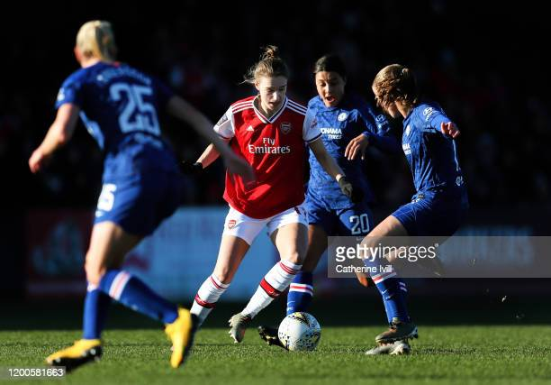 Vivianne Miedema of Arsenal holds of Sam Kerr of Chelsea during the Barclays FA Women's Super League match between Arsenal and Chelsea at Meadow Park...