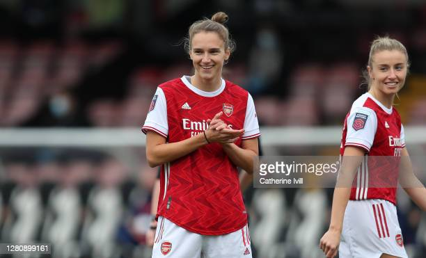 Vivianne Miedema of Arsenal reacts during the Barclays FA Women's Super League match between Arsenal Women and Tottenham Hotspur Women at Meadow Park...