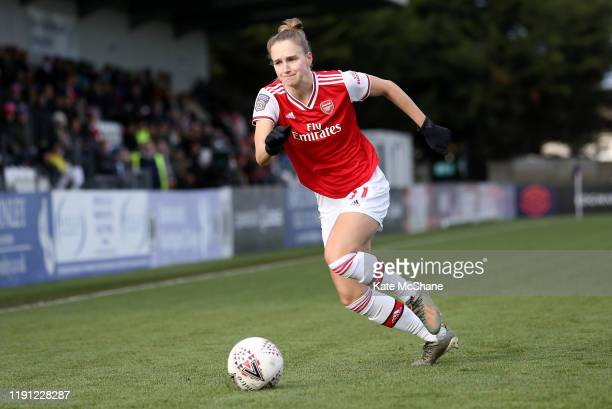 Vivianne Miedema of Arsenal runs with the ball during the Barclays FA Women's Super League match between Arsenal and Bristol City at Meadow Park on...