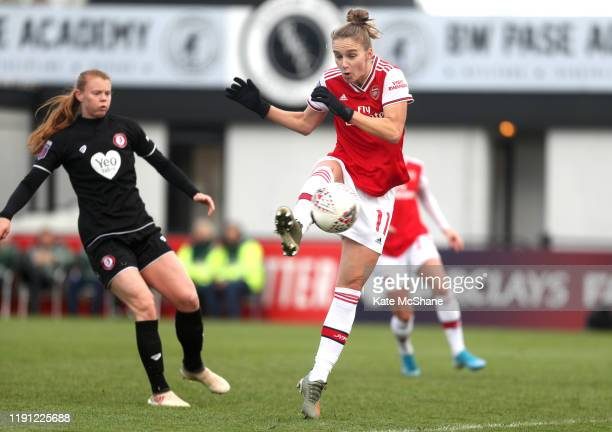 Vivianne Miedema of Arsenal scores her sides fifth goal during the Barclays FA Women's Super League match between Arsenal and Bristol City at Meadow...