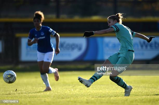 Vivianne Miedema of Arsenal scores her sides third goal during the FA WSL match between Everton Ladies and Arsenal Women on November 18 2018 in...