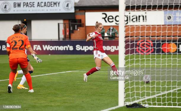 Vivianne Miedema of Arsenal scores her team's fifth goal during the Barclays FA Women's Super League match between Arsenal Women and Tottenham...