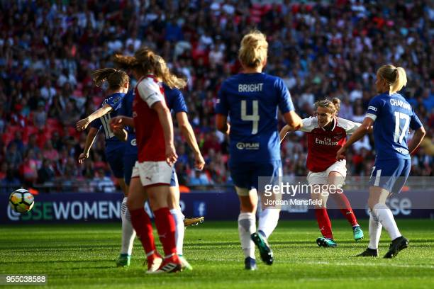 Vivianne Miedema of Arsenal scores her team's first goal of the game during the SSE Women's FA Cup Final match between Arsenal Women and Chelsea...