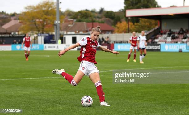 Vivianne Miedema of Arsenal scores her team's fourth goal during the Barclays FA Women's Super League match between Arsenal Women and Tottenham...