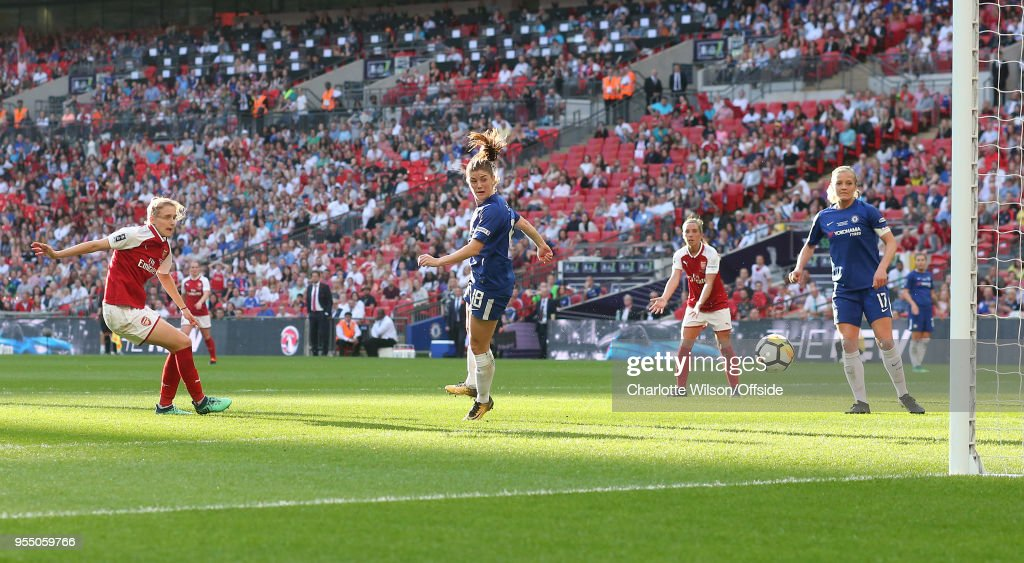 Vivianne Miedema of Arsenal scores their first and only goal during the SSE Women's FA Cup Final between Arsenal Women and Chelsea Ladies at Wembley Stadium on May 5, 2018 in London, England.