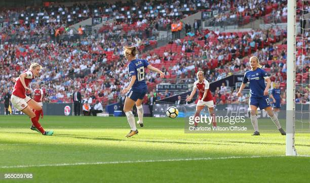 Vivianne Miedema of Arsenal scores their first and only goal during the SSE Women's FA Cup Final between Arsenal Women and Chelsea Ladies at Wembley...
