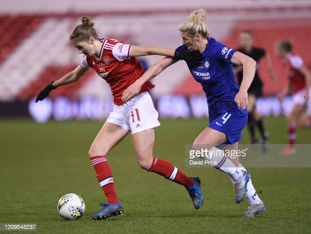Vivianne Miedema of Arsenal takes on Millie Bright of Chelsea during the FA Women's Continental League Cup Final Chelsea FC Women and Arsenal FC...
