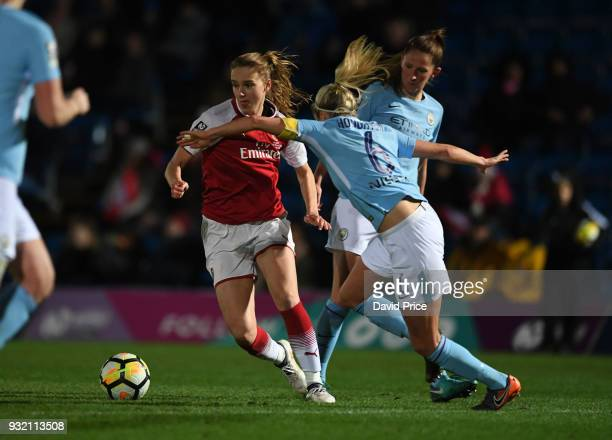 Vivianne Miedema of Arsenal takes on Steph Houghton of Man City during the match between Arsenal Women and Manchester City Ladies at Adams Park on...