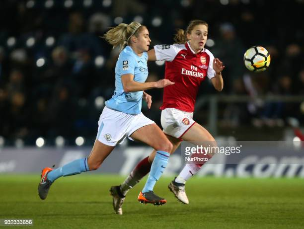Vivianne Miedema of Arsenal takes on Steph Houghton of Manchester City WFC during The FA WSL Continental Tyres Cup Final match between Arsenal...