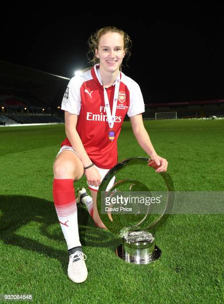 Vivianne Miedema of Arsenal with the Continenal Cup Trophy after the match between Arsenal Women and Manchester City Ladies at Adams Park on March 14...
