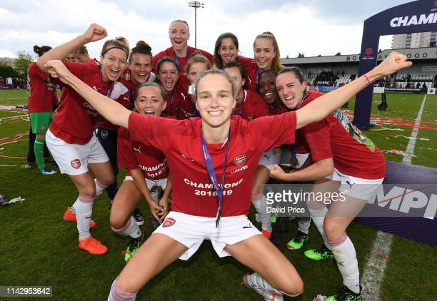 Vivianne Miedema of Arsenal Women celebrates after the match between Arsenal Women and Manchester City Women at Meadow Park on May 11 2019 in...