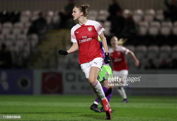Vivianne Miedema of Arsenal Women celebrates scoring her team's second goal during the The Football Association Women's Super League match between...