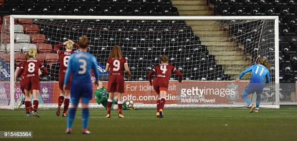 Vivianne Miedema of Arsenal Women has her penalty saved by Becky Flaherty of Liverpool Ladies during the Women's Super League match between Liverpool...