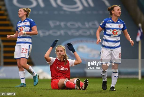 Vivianne Miedema of Arsenal Women reacts to her shot going wide as Remi Allen of Reading looks on during the match between Reading FC Women and...