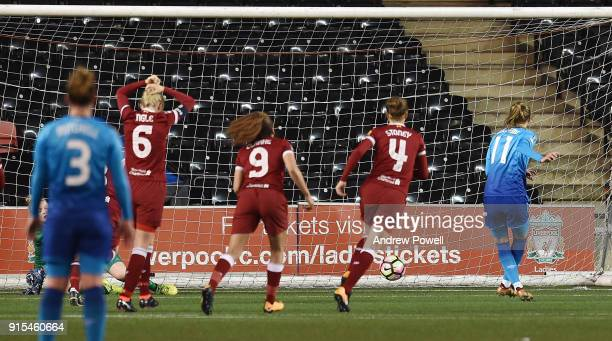 Vivianne Miedema of Arsenal Women scores the rebound from the penalty during the Women's Super League match between Liverpool Ladies and Arsenal...