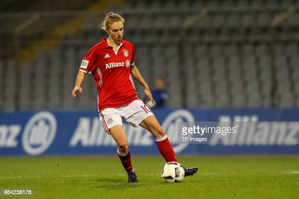 Vivianne Miedema of Bayern Muenchen controls the ball during the Women's DFB Cup Quarter Final match between FC Bayern Muenchen and VfL Wolfsburg at...
