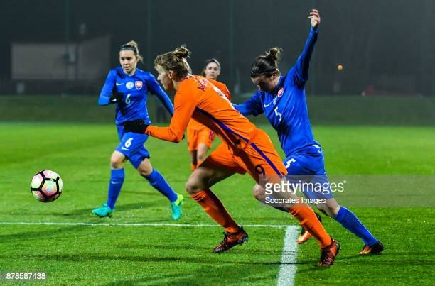 Vivianne Miedema of Holland Women Alexandra Biroova of Slovakia women during the World Cup Qualifier Women match between Slovakia v Holland at the...