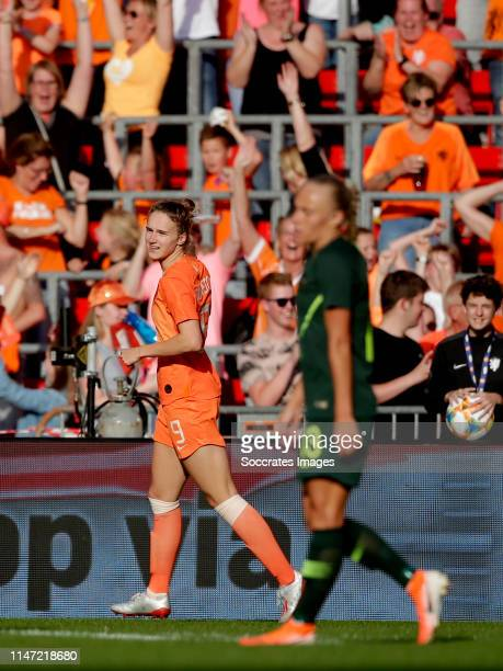 Vivianne Miedema of Holland Women celebrates 2-0 during the International Friendly Women match between Holland v Australia at the Philips Stadium on...