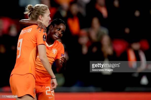 Vivianne Miedema of Holland Women celebrates 20 with Liza van der Most of Holland Women during the EURO Qualifier Women match between Holland v...