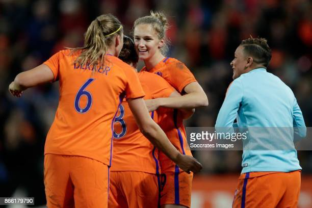 Vivianne Miedema of Holland Women celebrates the 10 with Anouk Dekker of Holland Women Sherida Spitse of Holland Women Shanice van de Sanden of...