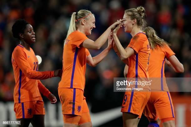 Vivianne Miedema of Holland Women celebrates the 10 with Lineth Beerensteyn of Holland Women Stefanie van der Gragt of Holland Women during the World...