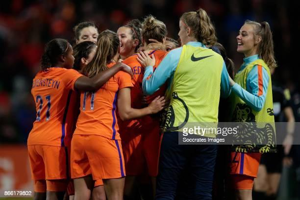 Vivianne Miedema of Holland Women celebrates the 10 with Lineth Beerensteyn of Holland Women Lieke Martens of Holland Women Merel van Dongen of...