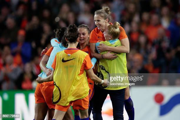 Vivianne Miedema of Holland Women celebrates the victory Lieke Martens of Holland Women Vivianne Miedema of Holland Women Danique Kerkdijk of Holland...