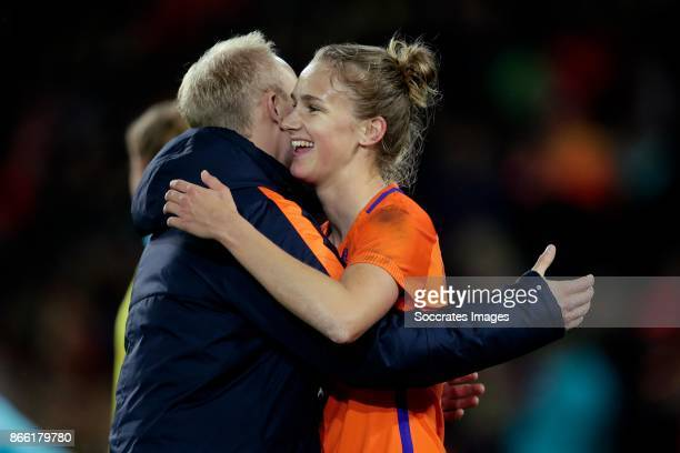 Vivianne Miedema of Holland Women celebrates the victory with assistant trainer Arjan Veurink of Holland Women during the World Cup Qualifier Women...