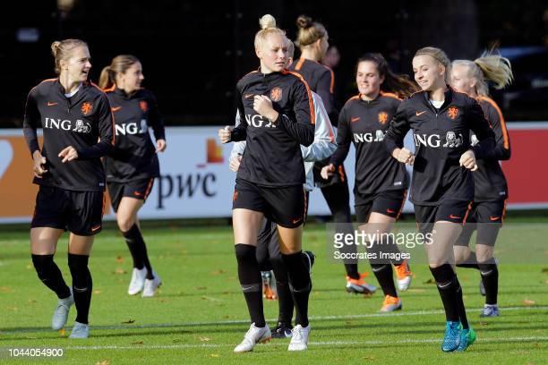 Vivianne Miedema of Holland Women, Danique Kerkdijk of Holland Women, Jackie Groenen of Holland Women during the Training Holland Women at the KNVB...