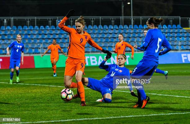 Vivianne Miedema of Holland Women Diana Bartovicova of Slovakia women during the World Cup Qualifier Women match between Slovakia v Holland at the...